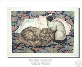 D Lundquist Etching Cats and Pillows S/N retail $100!! - $31.67