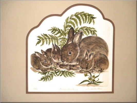 Linda Cullers Rabbit & Her Gang Etching S/N LTD ED #83