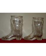 Jim Beam glass cowboy boots shot glasses vintage clear glass  - $15.00