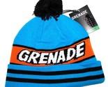Grenade Comic Striped Knit Pom Pom Winter Hat/Beanie/Toque - Blue