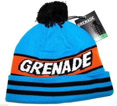 Grenade Comic Striped Knit Pom Pom Winter Hat/Beanie/Toque - Blue - £14.24 GBP
