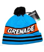 Grenade Comic Striped Knit Pom Pom Winter Hat/Beanie/Toque - Blue - $18.99