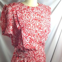 Vtg Breli of California Rose Roses Red White Dress Valentine Floral Tea ... - $49.01