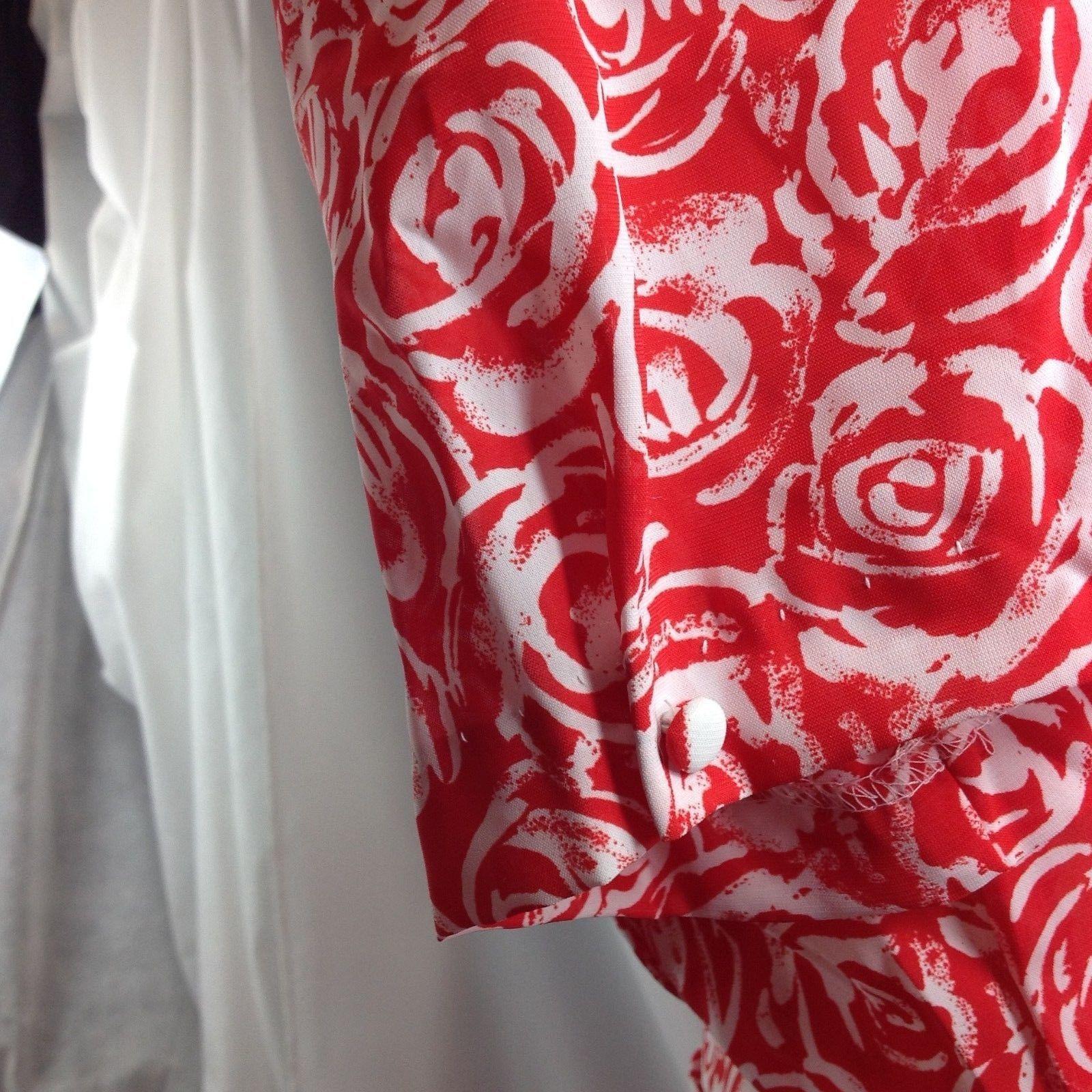 Vtg Breli of California Rose Roses Red White Dress Valentine Floral Tea Medium