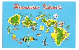 Hawaiian Islands Map Hawaii Niihau Kauai Maui Vintage Postcard 1983 - $4.99