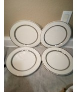 4)  SYRACUSE CHINA DINNER PLATES  NIMBUS PLATINUM WHITE SILVER   -FREE S... - $35.10