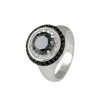 Black+Clear Double Pave With 8mm Center Black Cubic Zirconia Halo Rhodiu... - $32.00