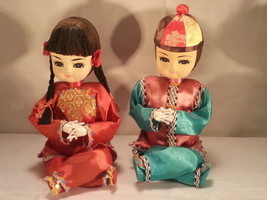 Pair of Vintage Asian Dolls - circa 1940 - $26.77