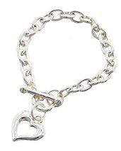 Classic Heart Charm Toggle Closure Chain Link Bracelet Silver Tone Aural... - $14.99
