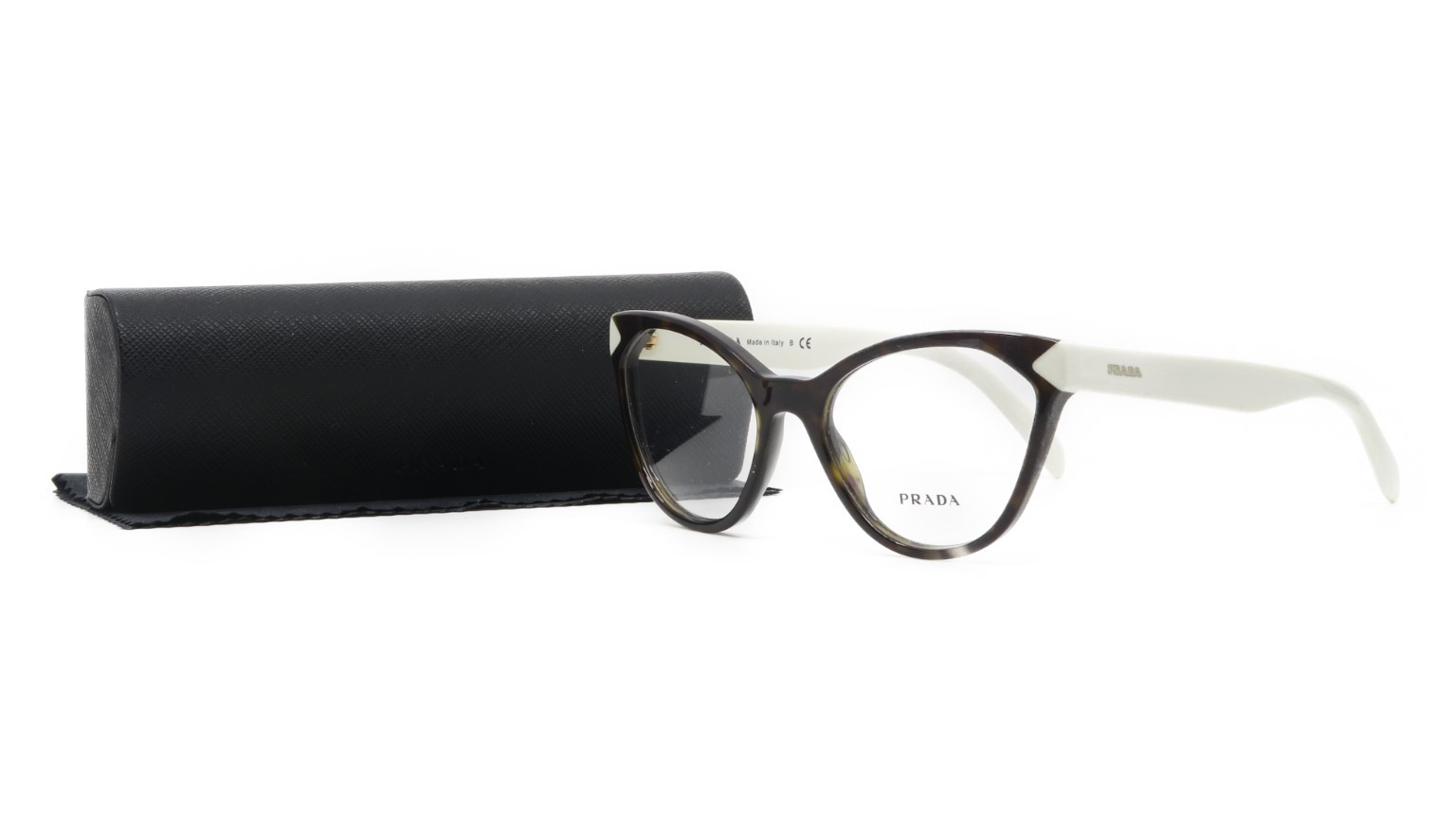 PRADA Women's Tortoise White Glasses with case VPR 02T-F 2AU-1O1 54mm