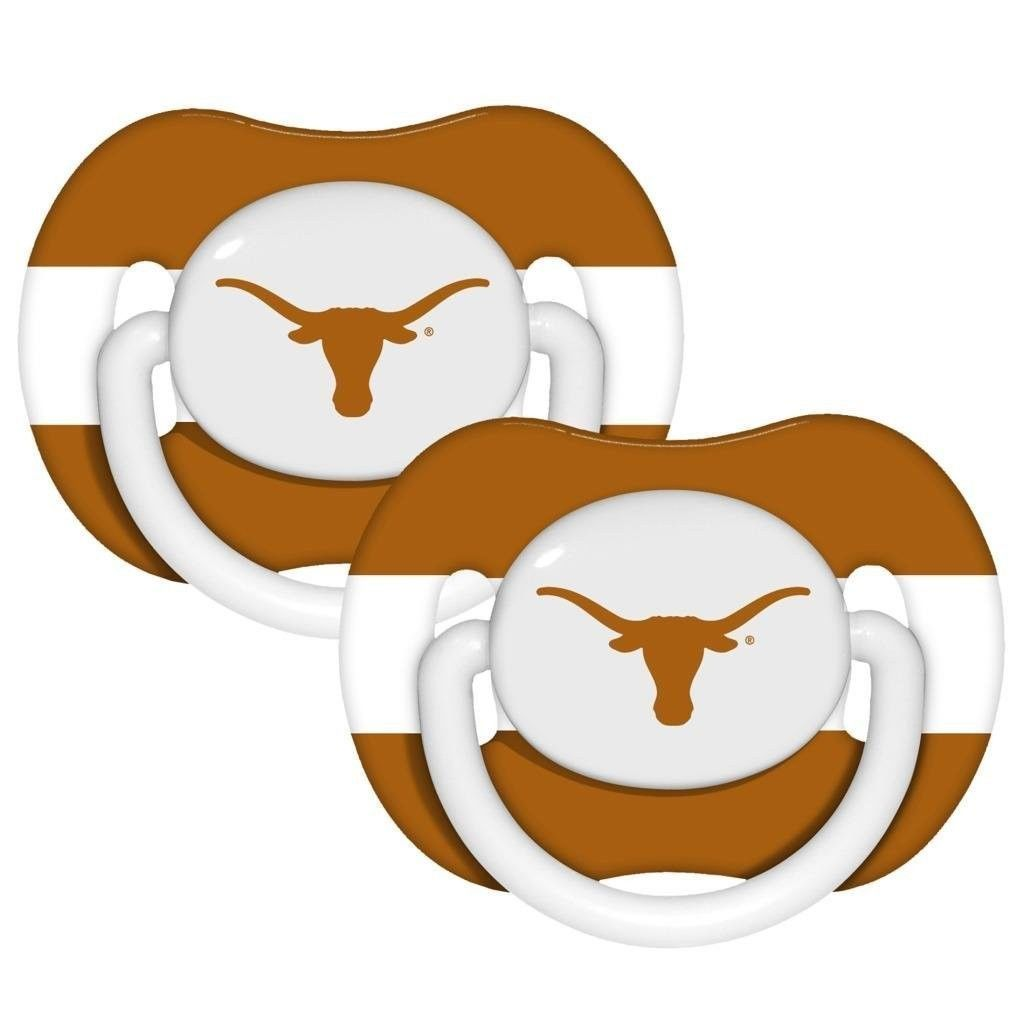 TEXAS LONGHORNS 2-PACK BABY INFANT ORTHODONTIC PACIFIER SET NCAA