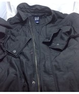 Gap Men's Black Coat Slide Pockets Zipper Button Front Padded Inside Siz... - $45.53
