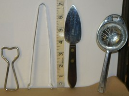 Lot of 4 Vntg. Kitchen Tools: Bottle Opener, Tongs, SS Cake Server,Ekco Strainer - $7.70