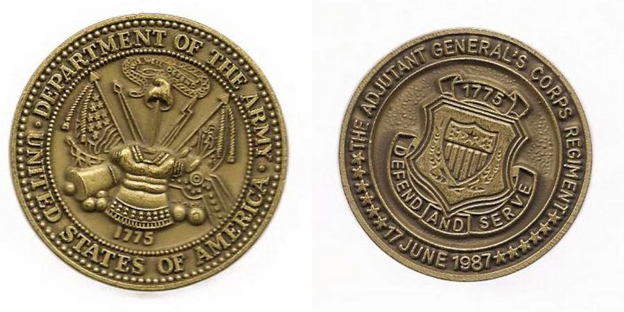 US ARMY ADJUTANT  GENERAL`S CORPS REGIMENT JUNE 17 1987 CHALLENGE COIN