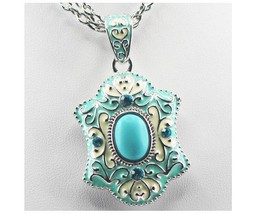 Turquoise Enamel 925 Sterling Silver Jewelry Set Necklace & Pendant  - $19.99