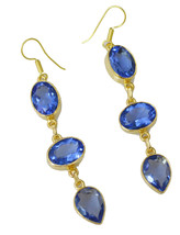 splendid Blue Shappire CZ Gold Plated Blue Earring Natural general US gift - $14.84