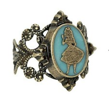 DISNEY ALICE IN WONDERLAND Adjustable Blue CAMEO RING Alice Silhouette - $12.37