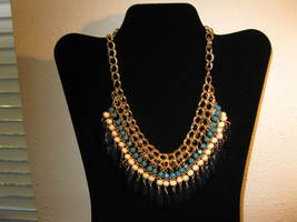 Beautiful Chunky Gold Multi-Colored Gemstone Bid Necklace New & Hot! #D686 - $15.99