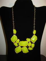 Yellow Chunky Bib Large Stone Necklace New & Hot! #D643 - $15.99