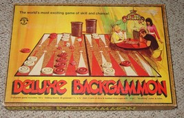 BACKGAMMON DELUXE BACKGAMMON GAME 1973 PACIFIC GAME CO VINTAGE COMPLETE ... - $25.00