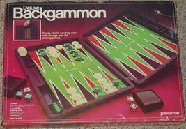 BACKGAMMON DELUXE GAME 1981 PRESSMAN STURDY PLASTIC CASE NIB SEALED PARTS - $20.00