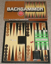 BACKGAMMON GAME REISS GAMES 1977 WOOD CHIPS UNUSED UNPLAYED  EXCELLENT C... - $25.00