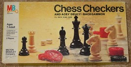 "CHESS CHECKERS & ACEY DEUCY BACKGAMMON GAME 3 1/8"" KING SIZE 1970 MILTON... - $15.00"