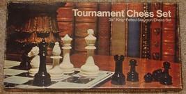 "CHESS TOURNAMENT CHESS SET GAME 3 1/8"" KING 1974 FELTED STAUNTON CHESS S... - $20.00"