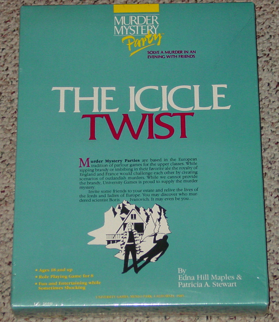 ICICLE TWIST MURDER MYSTERY PARTY GAME NEW SEALED UNIVERSITY GAMES 1985 COMPLETE - $15.00