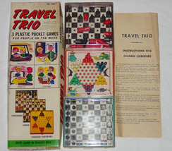 Travel Trio 3 Plastic Pocket Game Checkers Chess Chinese Checkers Vintage - $25.00