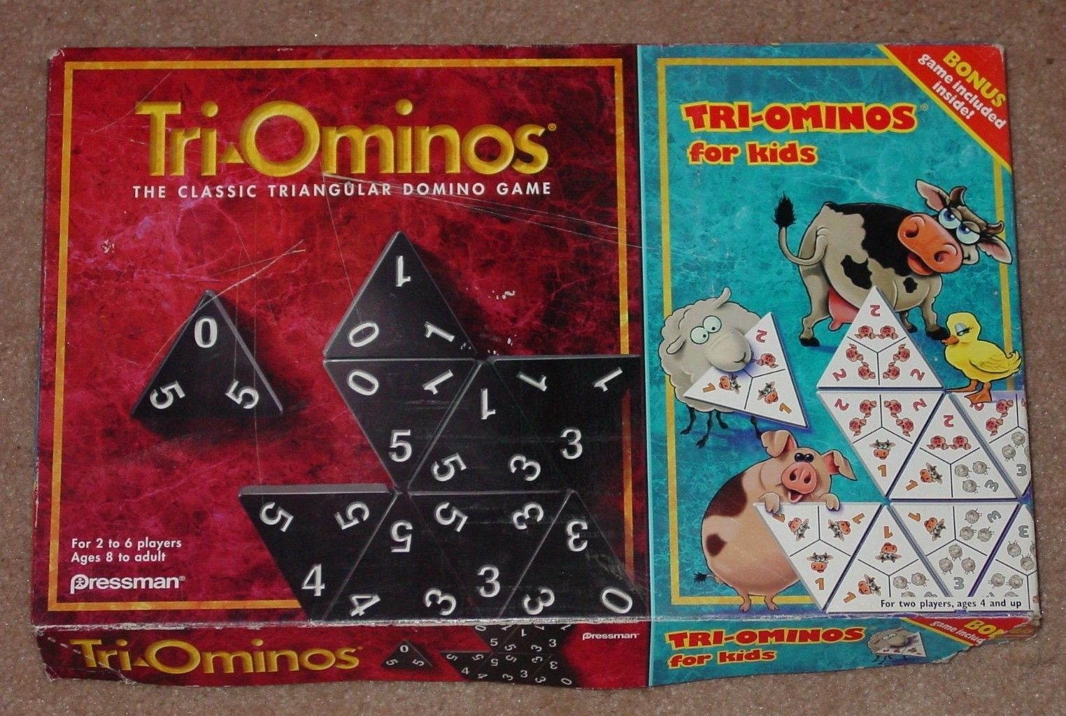 Primary image for TRI OMINOS  & TRIOMINOS FOR KIDS 1997 PRESSMAN COMPLETE EXCELLENT
