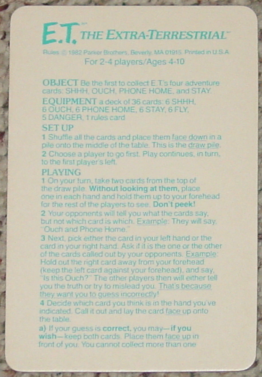 ET THE EXTRA TERRESTRIAL CARD GAME 1982 PARKER BROTHERS NO 756 COMPLETE image 4