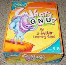 WHATS GNU 3 LETTER LEARNING GAME 2004 THINKFUN COMPLETE SEALED PARTS EXC... - $25.00