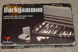 BACKGAMMON GAME LEATHERETTE CASE CARDINAL COMPLETE EXCELLENT - $25.00