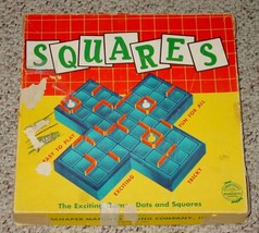 SQUARES GAME OF DOTS & SQUARES 1950'S SCHAPER CO COMPLETE EXCELLENT MADE... - $35.00