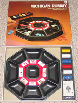 MICHIGAN RUMMY CARD TRAY & CHIPS GAME ES LOWE 1974 COMPLETE FACTORY SEAL... - $35.00