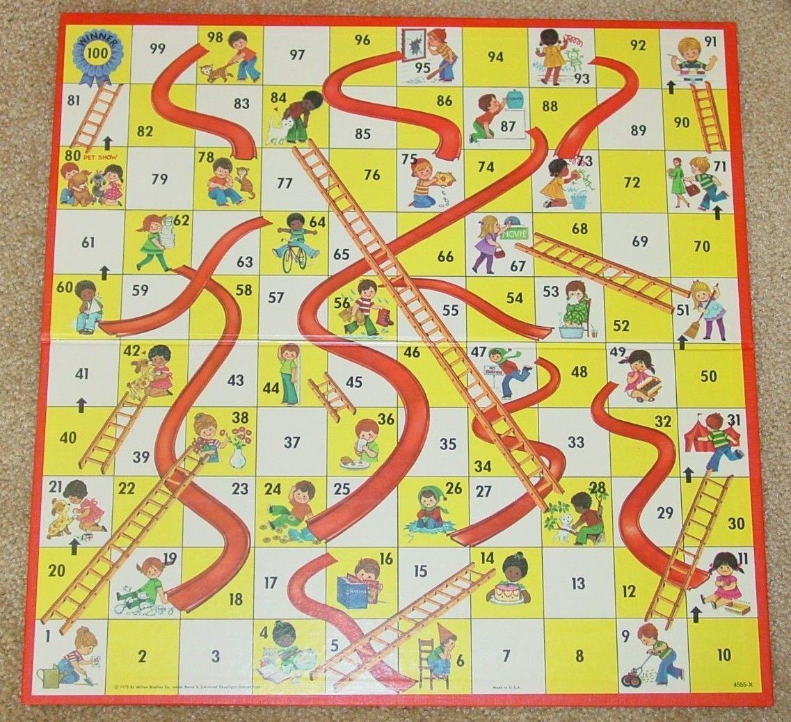 CHUTES & LADDERS GAME VINTAGE 1974 MILTON BRADLEY EXCELLENT CONDITION ...