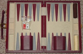 BACKGAMMON GAME BURGUNDY VELOUR FAUX SUEDE LEATHER COMPLETE EXCELLENT CO... - $30.00
