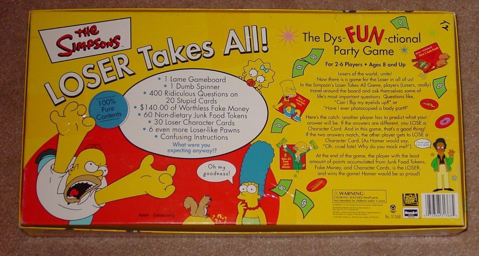 SIMPSONS LOSER TAKES ALL DYSFUNCTIONAL PARTY GAME 2001 ROSEART COMPLETE image 5