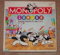 Monopoly Junior Jr 1995 Boardwalk Amusement Edition Game Complete - $12.00