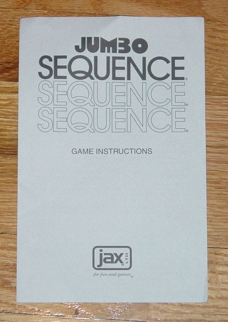 Sequence Jumbo Sequence Game 1996 Jax And 50 Similar Items
