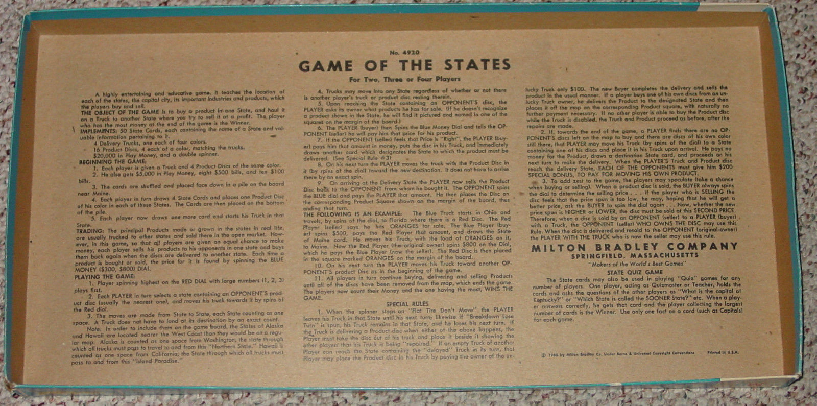 GAME OF THE STATES 1975 MILTON BRADLEY COMPLETE EXCELLENT