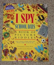 BOOK I SPY SCHOOL DAYS BOOK OF PICTURE RIDDLES 1995 SCHOLASTIC HARDCOVER - $7.00