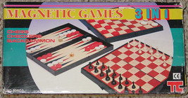 MAGNETIC GAMES 3 IN 1 BACKGAMMON CHESS CHECKERS GAME #956G3 COMPLETE VIN... - $20.00