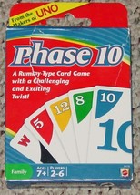 Phase 10  Card Game 2010 Mattel New Sealed Cards Open Box  Complete Excellent - $12.00