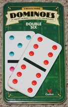 DOMINOES GAME COLLECTORS TIN COLOR DOT DOMINO DOUBLE SIX CARDINAL - $20.00