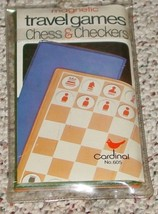 TRAVEL GAMES MAGNETIC CHESS & CHECKERS GAME #605 CARDINAL NIB COMPLETE - $20.00