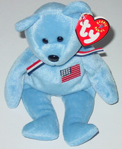 Ty Beanie Baby America Blue Bear Beanbag 4506 9 Th Generation Tag 2001 Pe - $10.00