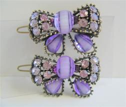 Amethyst Purple Sparkling Bow Hair Clip Crystal... - $14.03