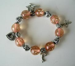 Lucite Beads Fancy Stretchable Charm Peach Color Bracelet - $8.20